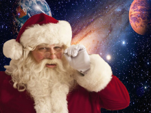 Santa Claus, with a space background